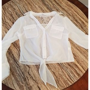 Candies white, sheer blouse, small